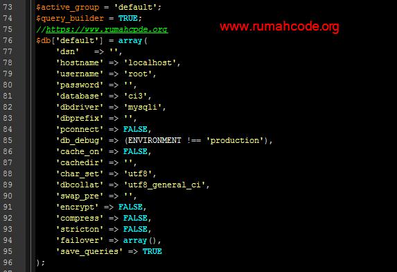 setingan database codeigniter