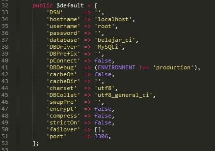 Setingan Database Codeigniter 4